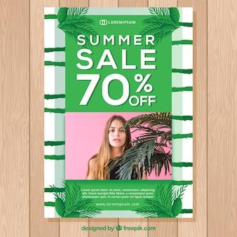 Groen de vliegermalplaatje van de de zomerverkoop met foto