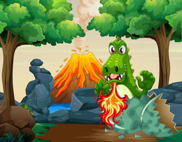 Groen draak uitbroedend ei in bos