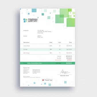Groen en blauw abstract, factuursjabloonontwerp voor uw bedrijf.