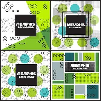 Groen en blauw flyers ontwerp