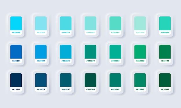 Groen en blauw pastelkleurenpalet. catalogusmonsters groen en blauw in rgb hex. kleurencatalogus. neumorphic ui ux witte gebruikersinterface webknop. neumorfisme. Premium Vector