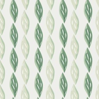Groen en grijs gekleurd palet naadloos patroon met abstracte bladeren
