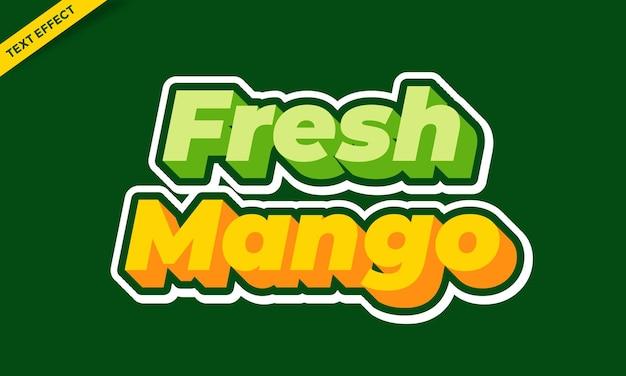 Groen en oranje mangofruit vers teksteffectontwerp
