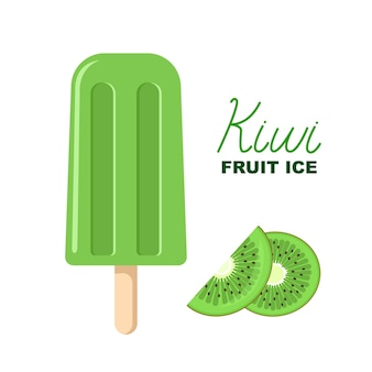 Groen fruitijs met kiwi, belettering en tekening naast ijslolly.