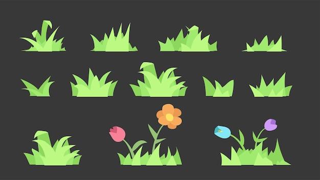 Groen gazon gras eenvoudige set geïsoleerd
