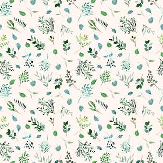 Groen gebladerte aquarel naadloze patroon