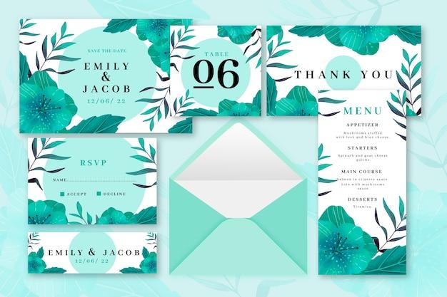 Groen gekleurde bruiloft briefpapier