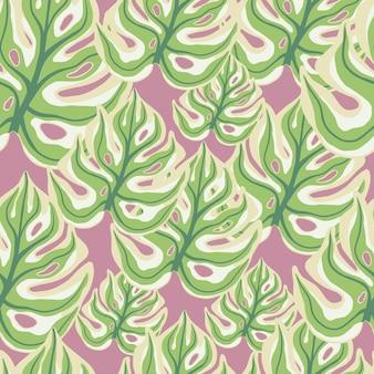 Groen gekleurde monstera blad silhouetten naadloze doodle patroon. roze pastelachtergrond. krabbel sieraad. ontworpen voor stofontwerp, textielprint, verpakking, omslag. vector illustratie.