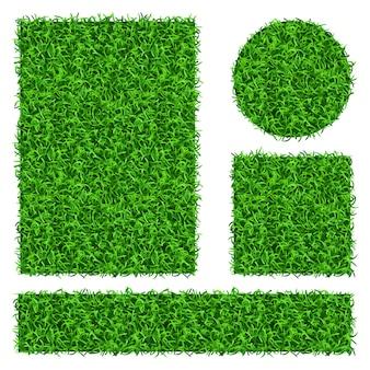 Groen gras banners set. flora decoratie gras plant en natuur bloemen gras