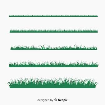Groen gras rand silhouetten collectie
