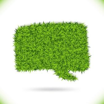 Groen gras tekstballon op witte achtergrond. eco huis concept. illustratie