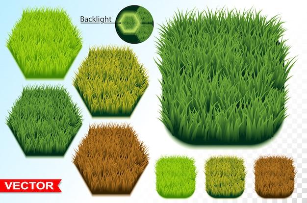 Groen gras zeshoek naadloos patroon pictogram