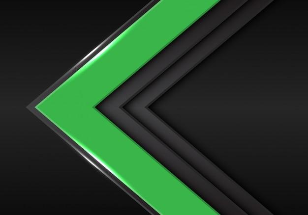 Groen grijze pijlrichting op donkere lege ruimteachtergrond.