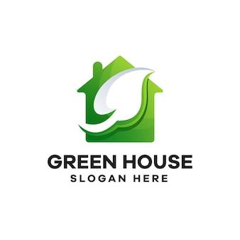 Groen huis gradiënt logo ontwerp