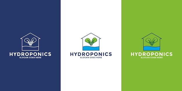 Groen huis, hydrocultuur huis logo ontwerpsjabloon