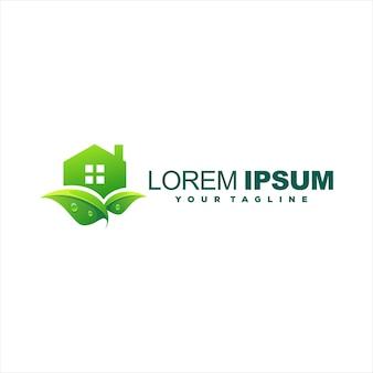 Groen huis kleurovergang logo ontwerp