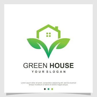 Groen huis logo-ontwerp premium vector