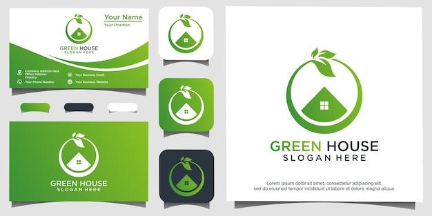 Groen huis logo ontwerp vectorillustratie