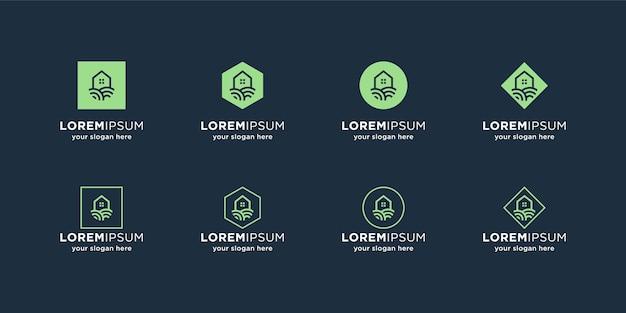 Groen huis logo sjabloon