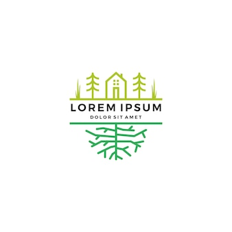 Groen huis tuin boom root logo