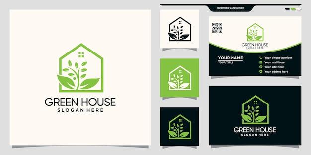 Groen huislogo met natuurlijk bladconcept en visitekaartjeontwerp premium vector