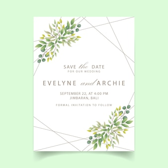 Groen huwelijksuitnodiging