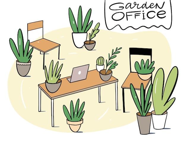 Groen in werkruimte vlakke afbeelding in cartoon-stijl. comfortabele werkplek. gezelligheid op kantoor. geïsoleerd op witte achtergrond.
