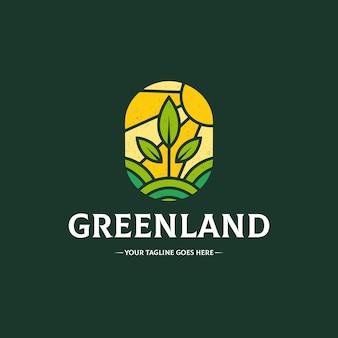 Groen land logo sjabloon