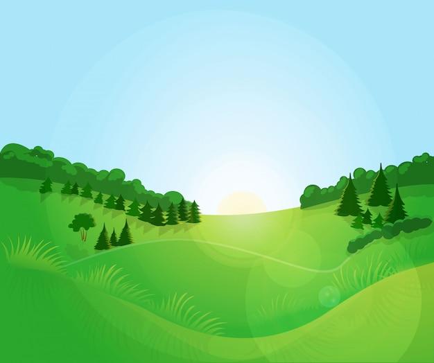 Groen landschap met blauwe hemel.