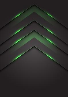 Groen licht 3d pijl richting donkergrijze lege ruimte achtergrond.