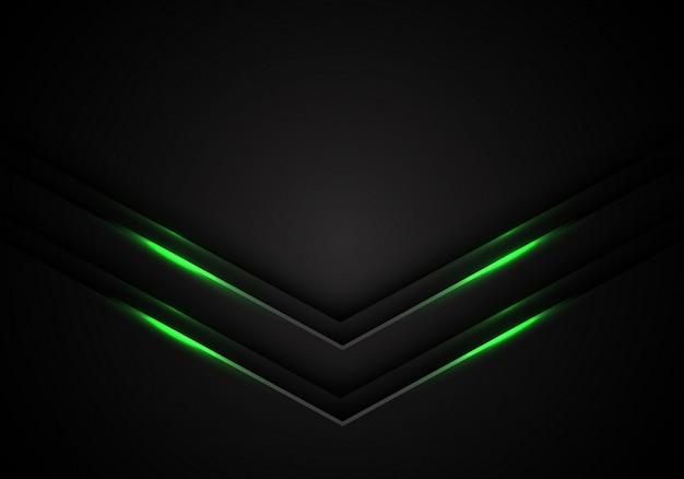 Groen licht pijl richting zwarte lege ruimte achtergrond.