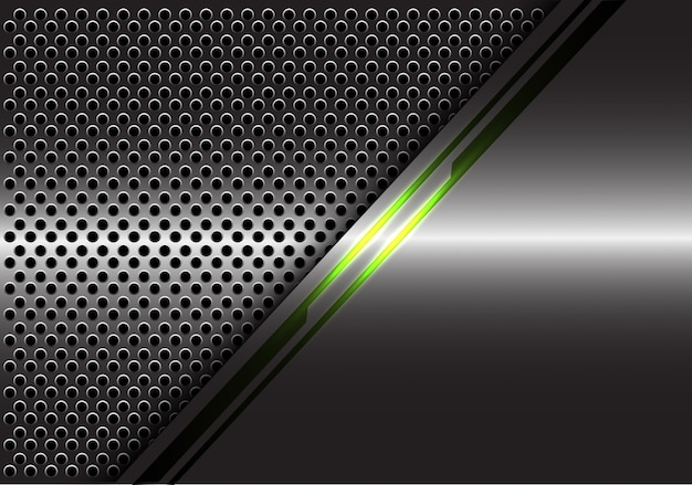 Groen lichtlijnenergie op grijze het netwerkachtergrond van de metaalcirkel.