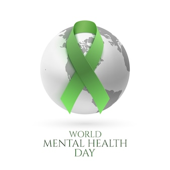 Groen lint met zwart-wit aardepictogram dat op witte achtergrond wordt geïsoleerd. wereld geestelijke gezondheid dag poster of brochure sjabloon.