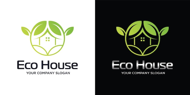 Groen logo van een ecohuis of een ecohuis minimalistisch