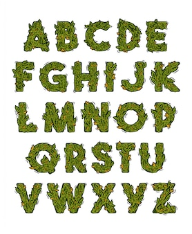 Groen marihuana-alfabet met lettertypen in wiet, cannabis, hennep, stilering van knoppen.