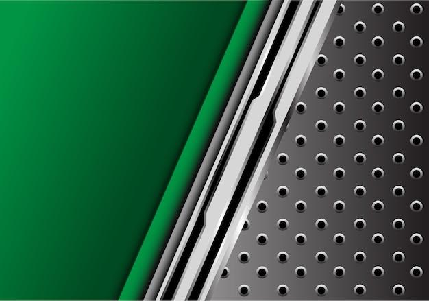 Groen metaal futuristisch met de grijze achtergrond van het cirkelnetwerk.