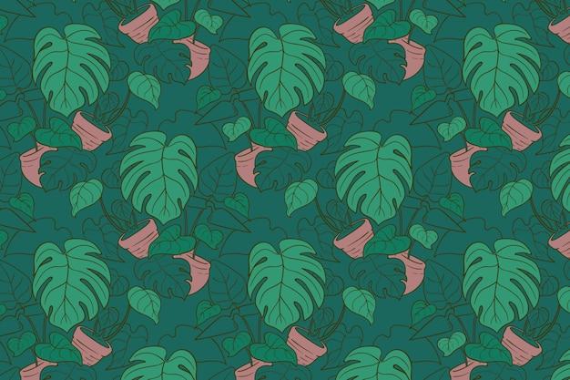 Groen monstera hand getekend naadloos patroon