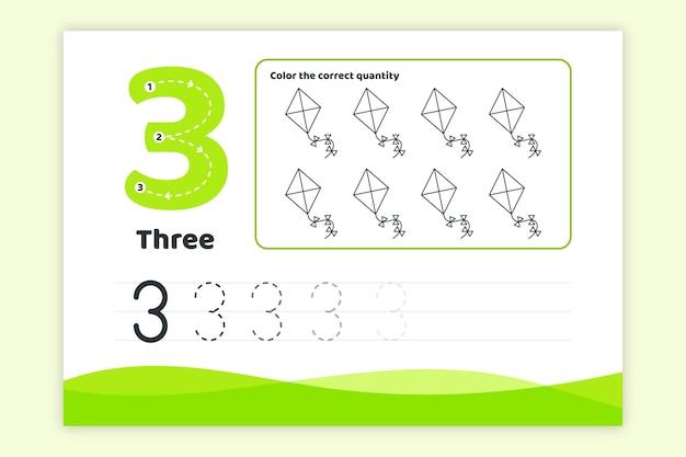 Groen nummer drie werkblad
