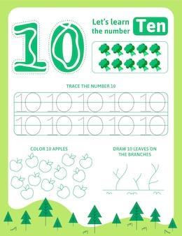 Groen nummer tien werkblad