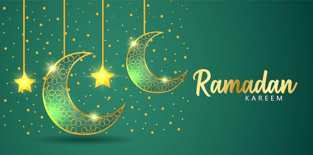 Groen ontwerp als achtergrond over de maand ramadan. een maansikkel met een ster die 's nachts oplicht.