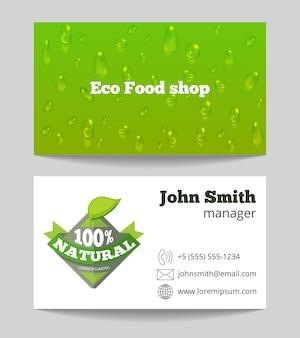 Groen organisch de winkeladreskaartje van het ecovoedsel