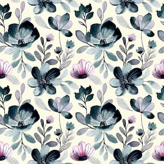 Groen paars abstract bloemenwaterverf naadloos patroon