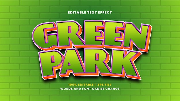 Groen park bewerkbaar teksteffect in moderne 3d-stijl