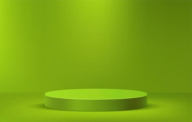 Groen podium voor productweergave op minimale scène, groene sokkelfase 3d-illustratiesjabloon