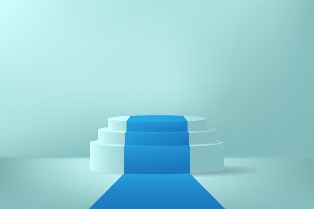 Groen productvertoningspodium met blauw tapijt