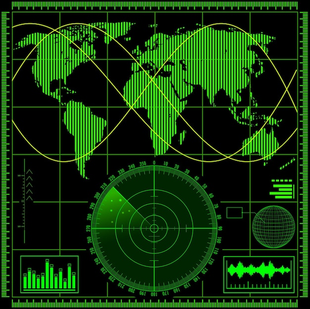 Groen radarscherm met illustratie van de wereldkaart