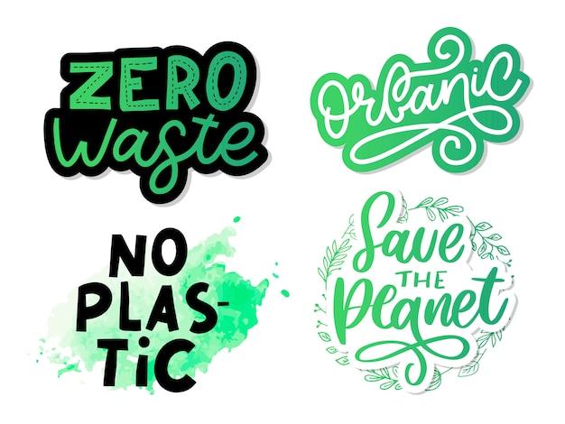 Groen red de planeetzin. typografie illustratie. belettering concept set