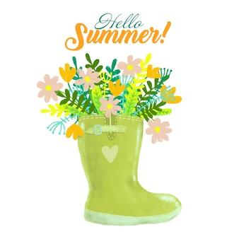 Groen rubberen laars met boeket zomerbloemen