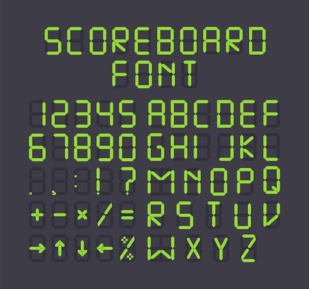 Groen scorebord terminal alfabet op zwart bacground