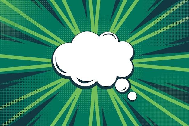 Groen snelheidsontwerp en komische de stijlachtergrond van de praatjebel